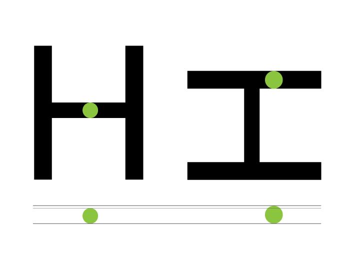 """Ajustes en los trazos de una """"H"""" para que sean percibidos como uniformes"""