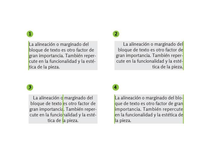 Distintas alineaciones del bloque de texto