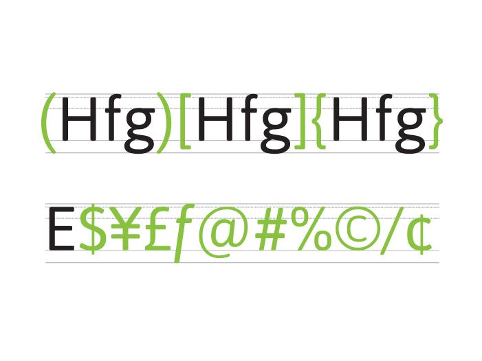 Alineación de signos no alfabéticos y comerciales