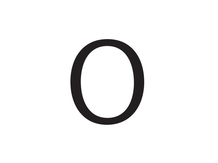 """Letra """"O"""" de proporciones contemporáneas"""