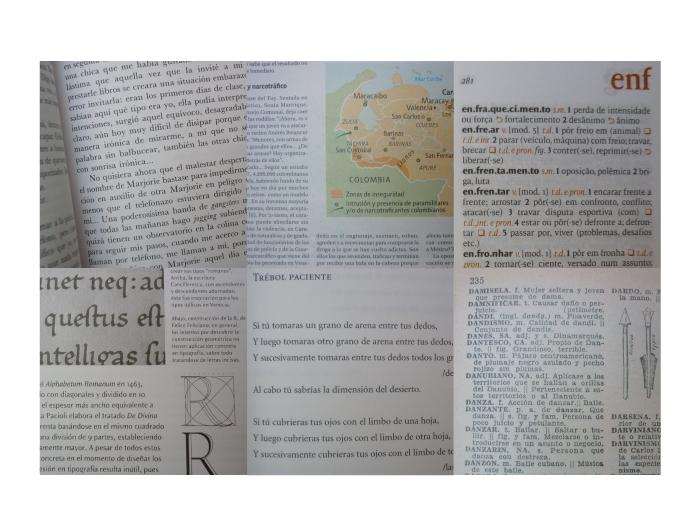 Diferentes tipos de texto y sus correspondientes manchas tipográficas