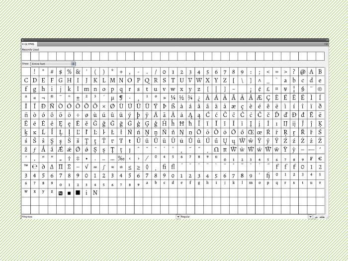Paleta de glifos de una fuente OpenType